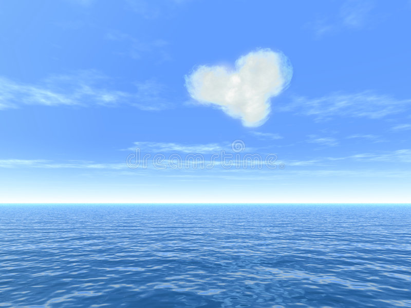 Nuage de coeur au-dessus de mer illustration stock