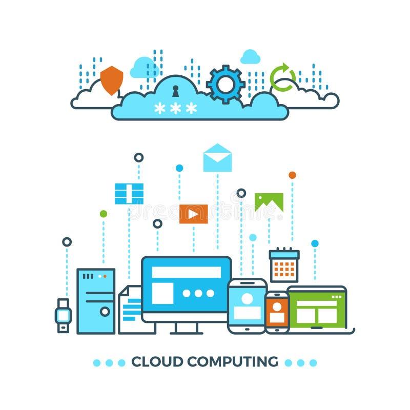 Nuage de Digital calculant, concept d'affaires de vecteur de stockage de données d'ordinateur illustration stock