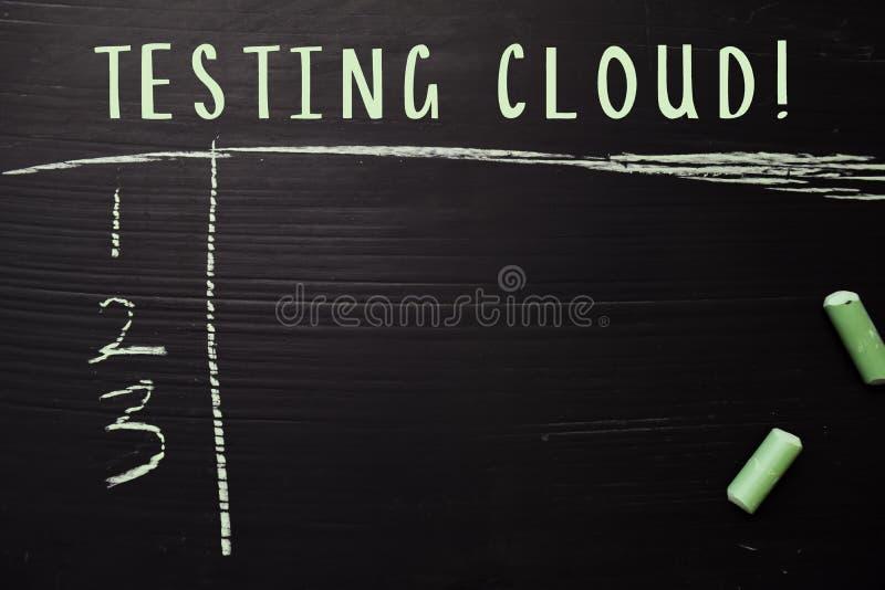 Nuage de essai ! écrit avec la craie de couleur Soutenu par des services supplémentaires Concept de tableau noir image libre de droits