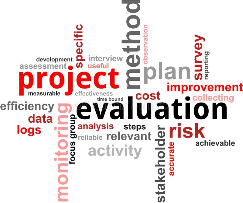 Nuage de mot - évaluation de projet illustration de vecteur