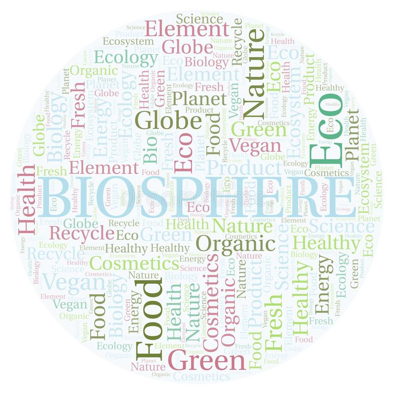 Nuage de mot de biosphère illustration libre de droits