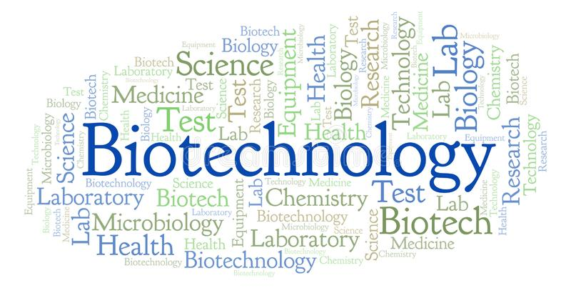 Nuage de mot de biotechnologie illustration stock