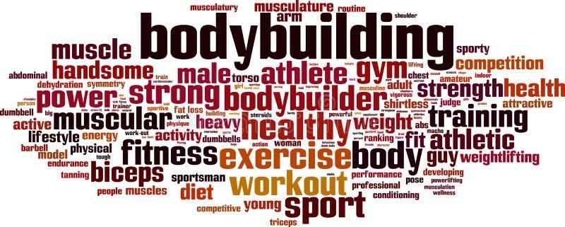 Nuage de mot de bodybuilding illustration libre de droits