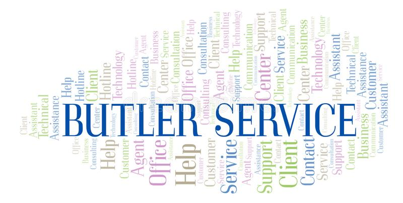Nuage de mot de Butler Service illustration stock