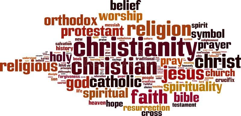 Nuage de mot de christianisme illustration stock