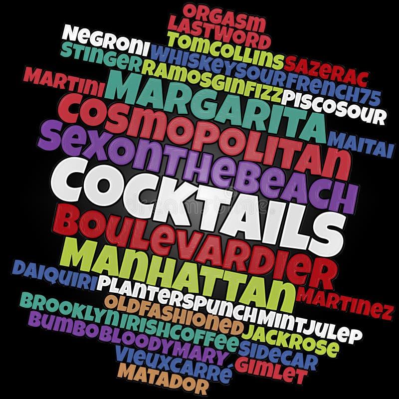 Nuage de mot de cocktails de les plus populaires illustration de vecteur