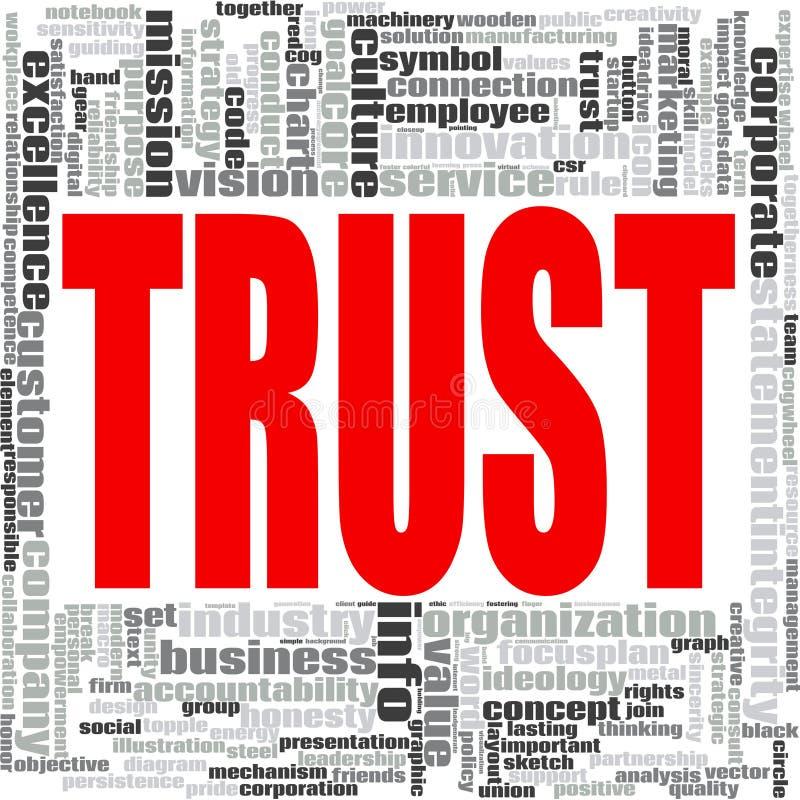 Nuage de mot de confiance illustration stock