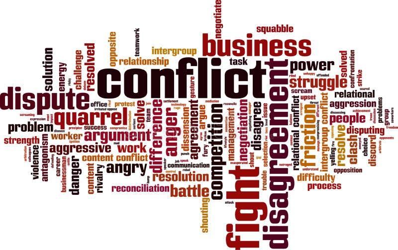 Nuage de mot de conflit illustration de vecteur