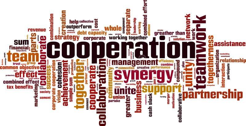 Nuage de mot de coopération illustration libre de droits