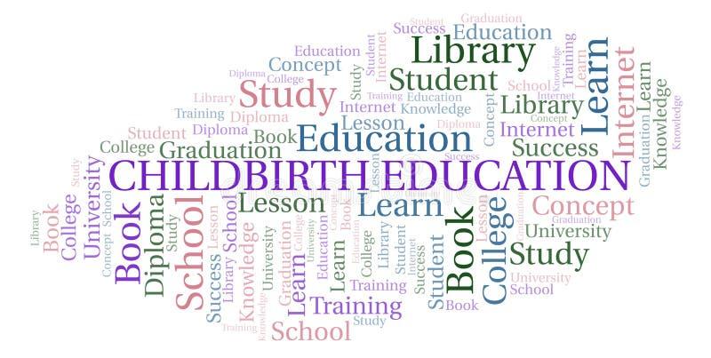 Nuage de mot d'éducation d'accouchement illustration libre de droits