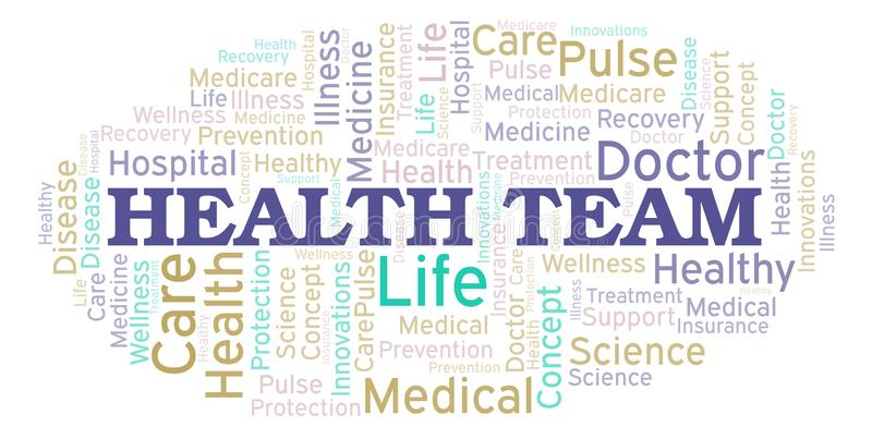 Nuage de mot d'équipe de santé illustration stock