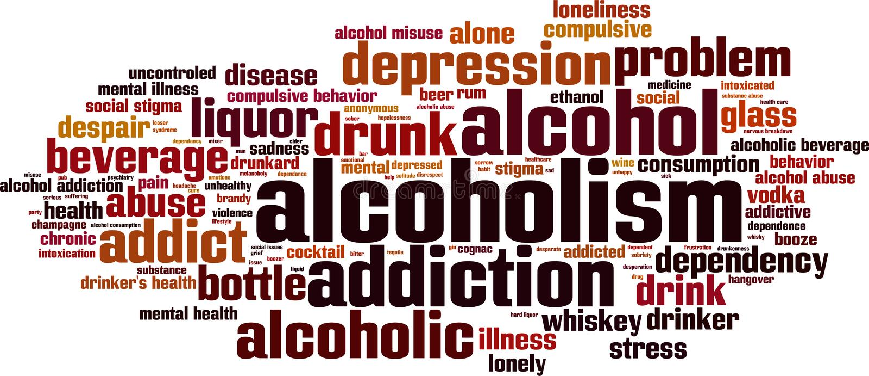 Nuage de mot d'alcoolisme illustration stock