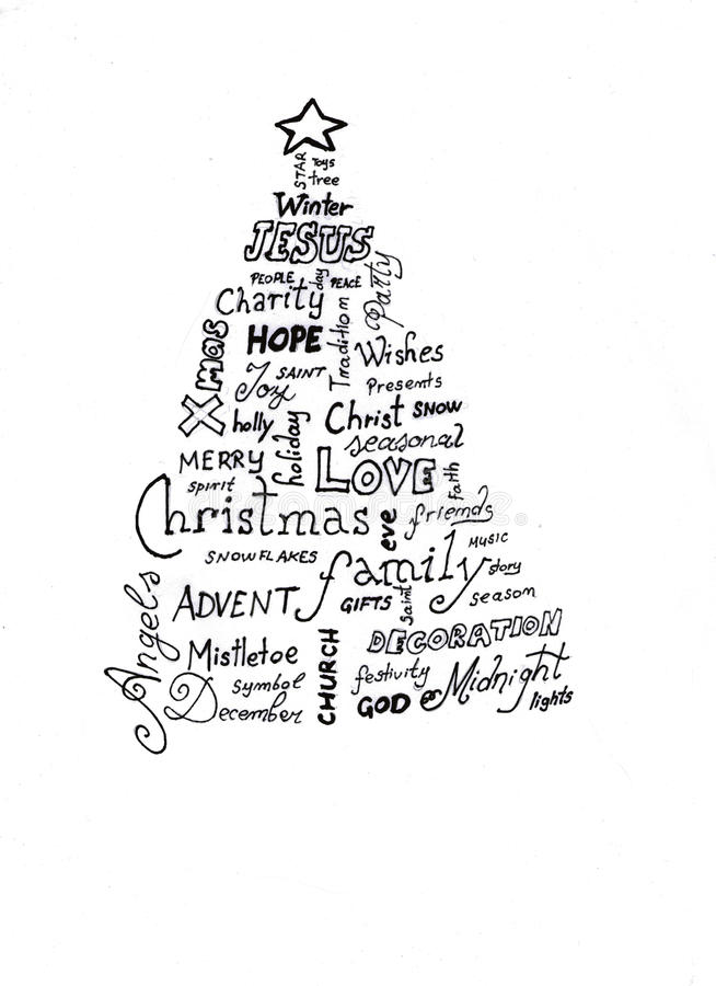 Nuage de mot d'arbre de Noël illustration de vecteur