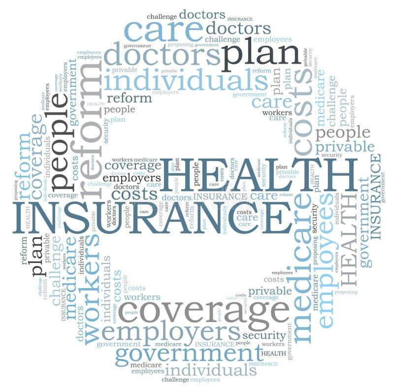 Nuage de mot d'assurance médicale maladie illustration stock
