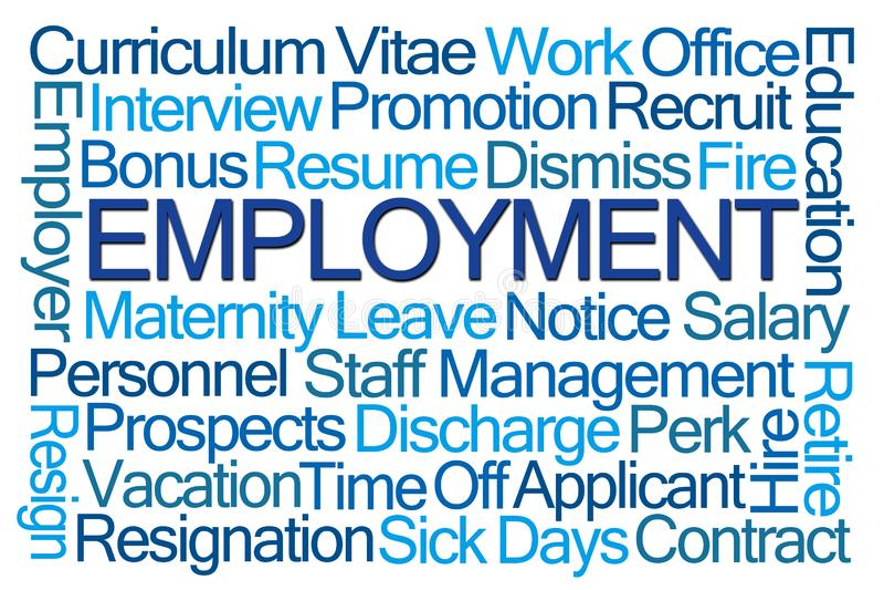 Nuage de mot d'emploi illustration stock