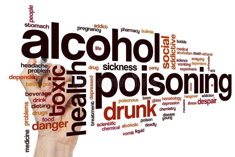 Nuage de mot d'empoisonnement d'alcool images libres de droits