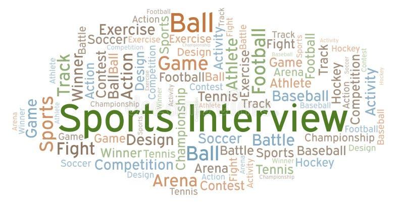 Nuage de mot d'entrevue de sports illustration de vecteur
