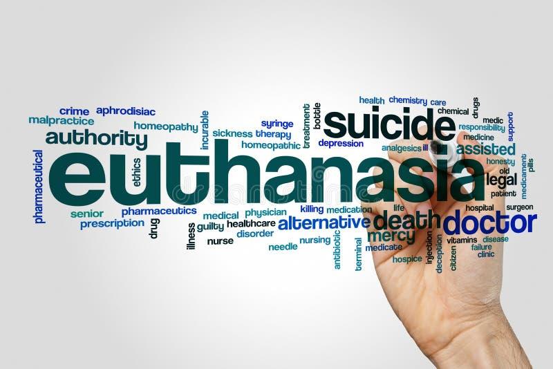 Nuage de mot d'euthanasie sur le fond gris photo libre de droits