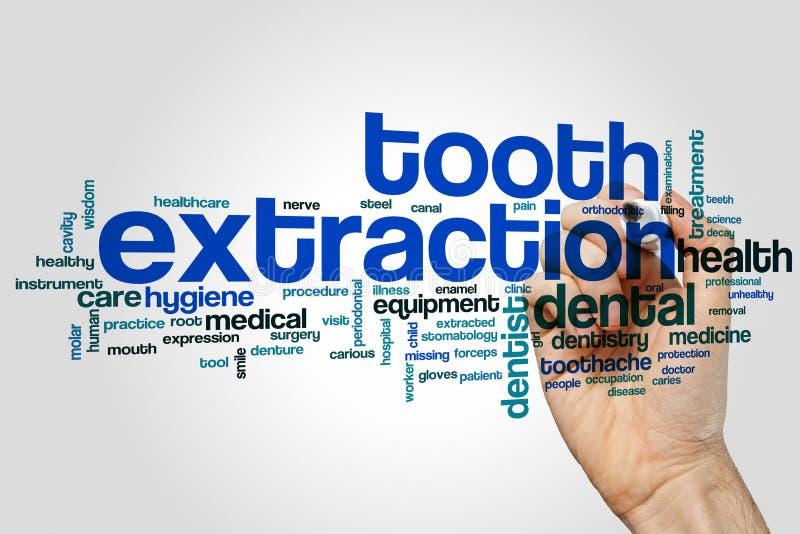 Nuage de mot d'extraction de dent photo stock