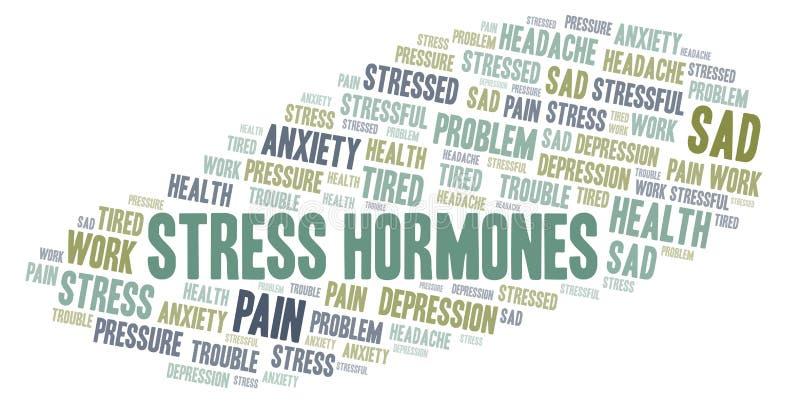 Nuage de mot d'hormones du stress illustration libre de droits