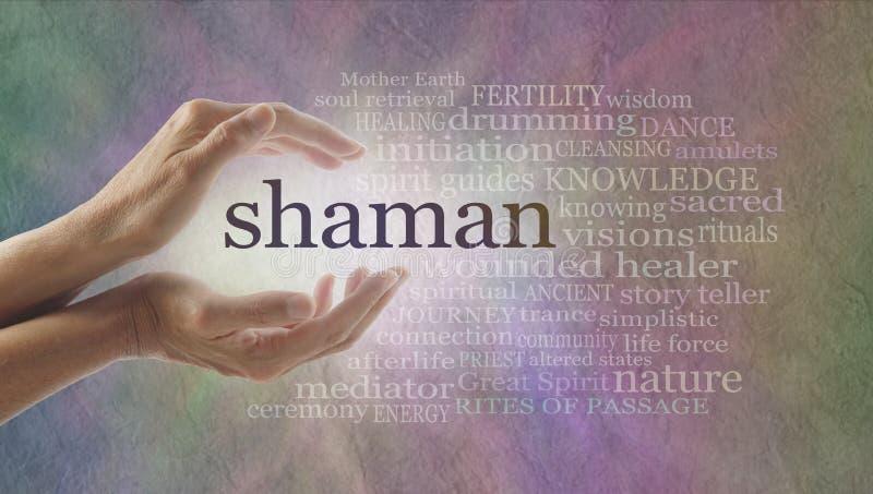 Nuage de mot de chaman et mains curatives photo libre de droits