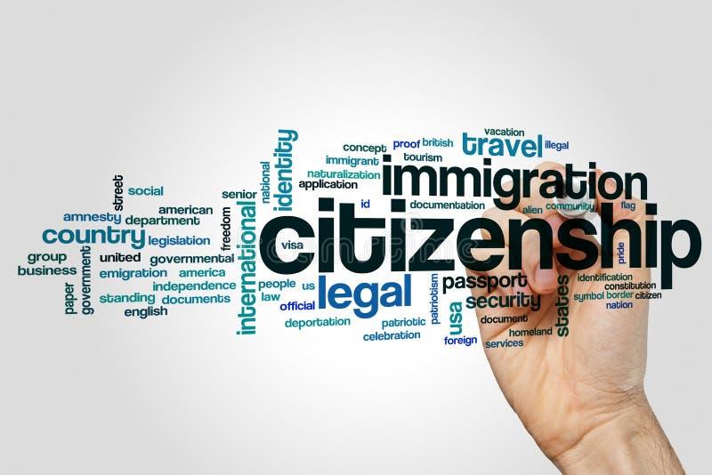 Nuage de mot de citoyenneté photographie stock libre de droits
