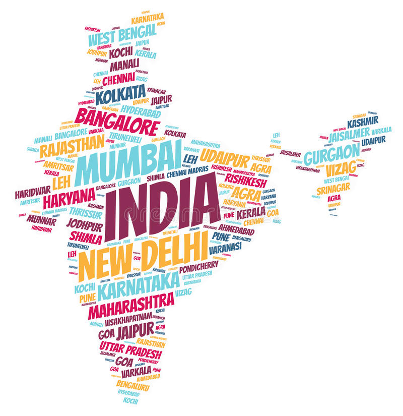 Nuage de mot de destinations de voyage de dessus d'Inde illustration stock