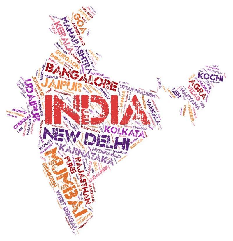 Nuage de mot de destinations de voyage de dessus d'Inde illustration libre de droits