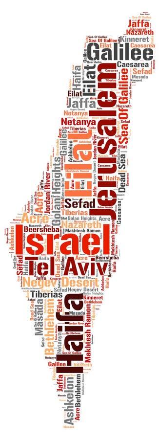 Nuage de mot de destinations de voyage de dessus de l'Israël illustration de vecteur