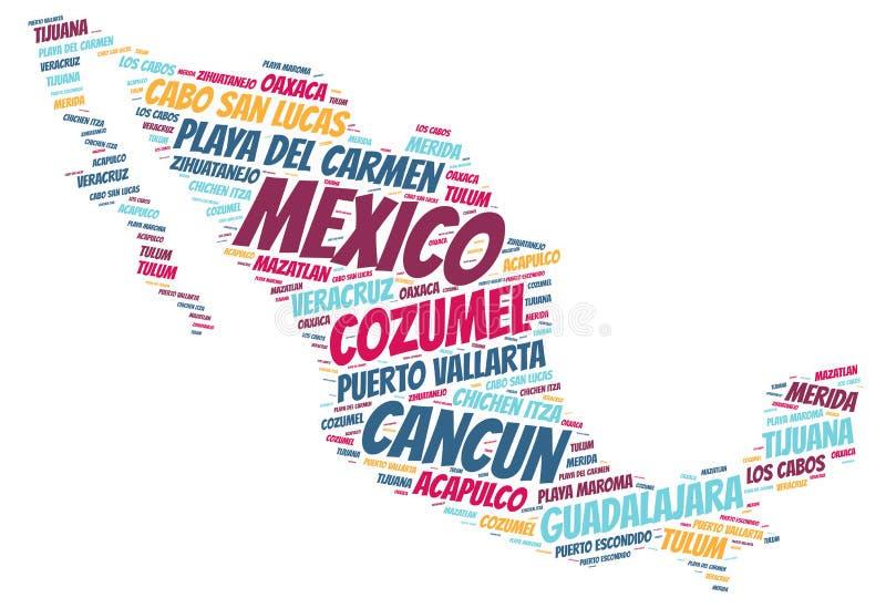 Nuage de mot de destinations de voyage de dessus du Mexique illustration libre de droits