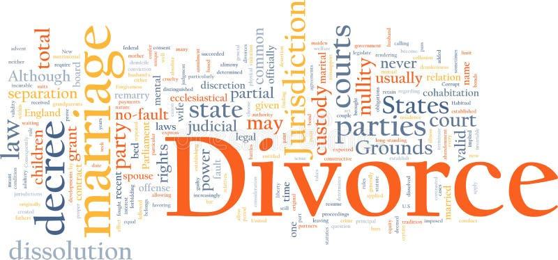 Nuage de mot de divorce illustration stock