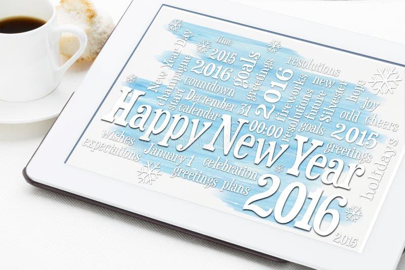Nuage de mot de la bonne année 2016 images stock