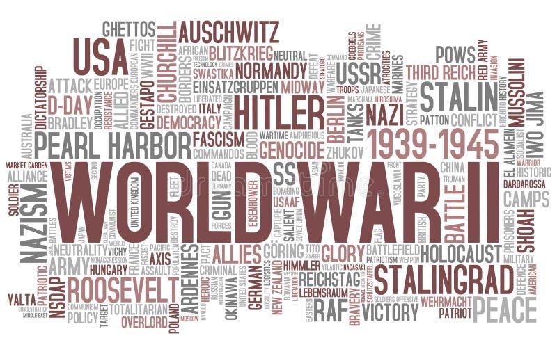Nuage de mot de la deuxième guerre mondiale illustration libre de droits