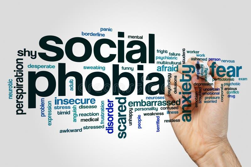 Nuage de mot de phobie sociale image libre de droits