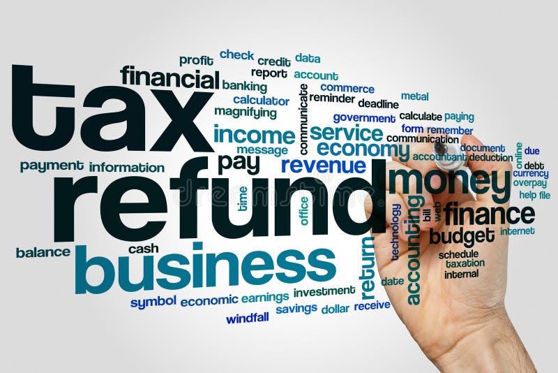 Nuage de mot de remboursement d'impôt fiscal image libre de droits