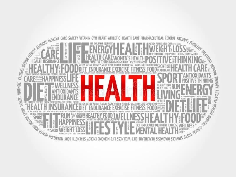 Nuage de mot de santé, forme physique illustration libre de droits