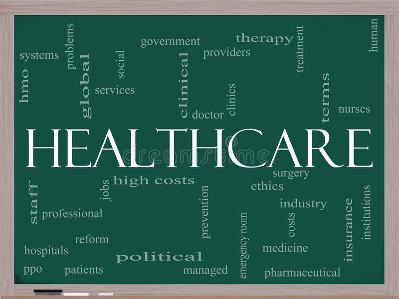 Nuage de mot de soins de santé sur le tableau noir illustration de vecteur