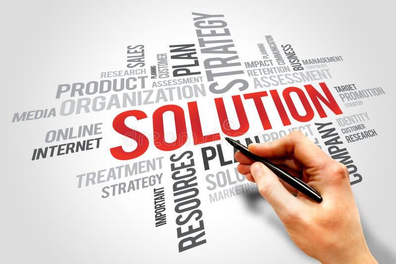Nuage de mot de SOLUTION, concept d'affaires image stock