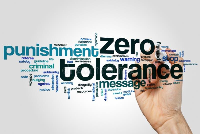 Nuage de mot de tolérance zéro photo stock