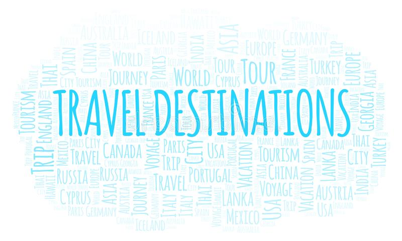 Nuage de mot de destinations de voyage illustration stock