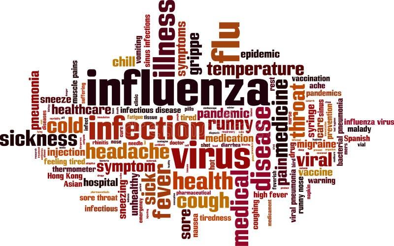 Nuage de mot de grippe illustration stock
