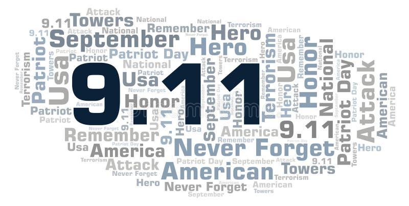 9 Nuage de mot de jour de 11 patriotes illustration stock