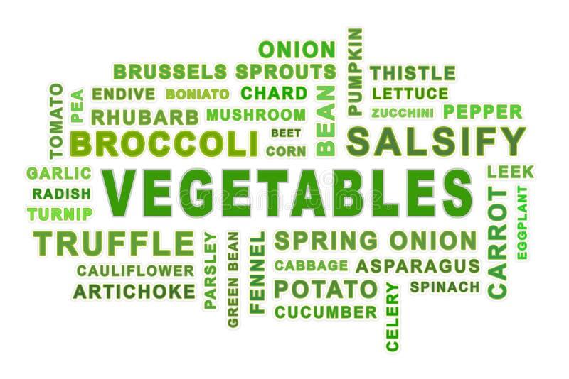 Nuage de mot de légumes illustration libre de droits