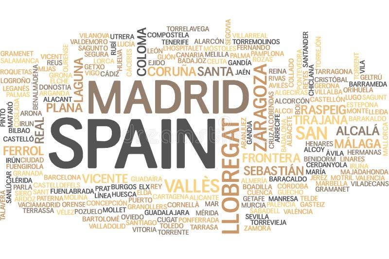 Nuage de mot de l'Espagne illustration stock
