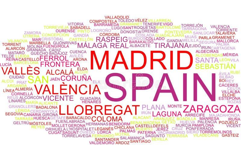 Nuage de mot de l'Espagne illustration libre de droits