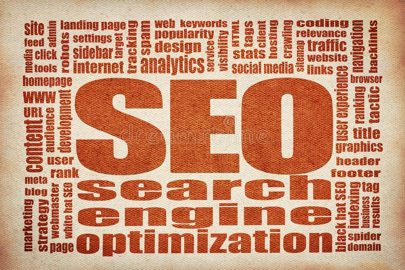 Nuage de mot de l'optimisation SEO de moteur de recherche illustration stock