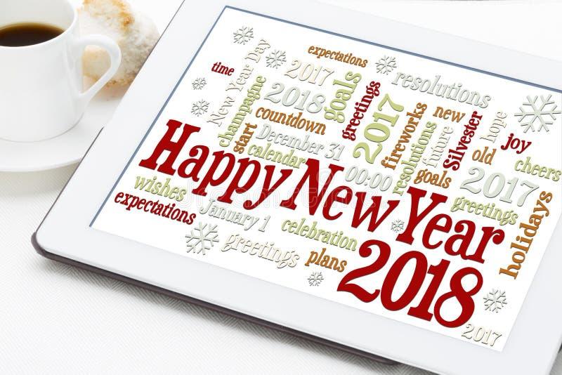 Nuage de mot de la bonne année 2018 images stock