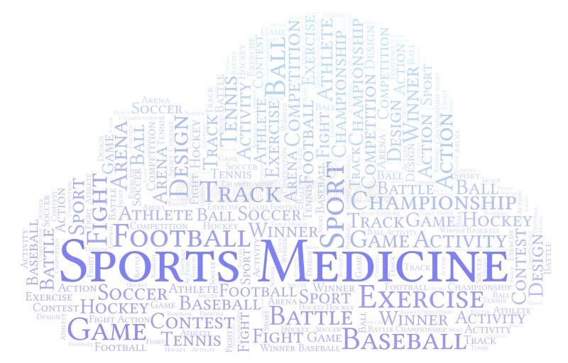 Nuage de mot de médecine de sports illustration de vecteur