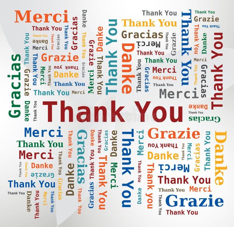 Nuage de mot - merci dans 5 langages illustration libre de droits
