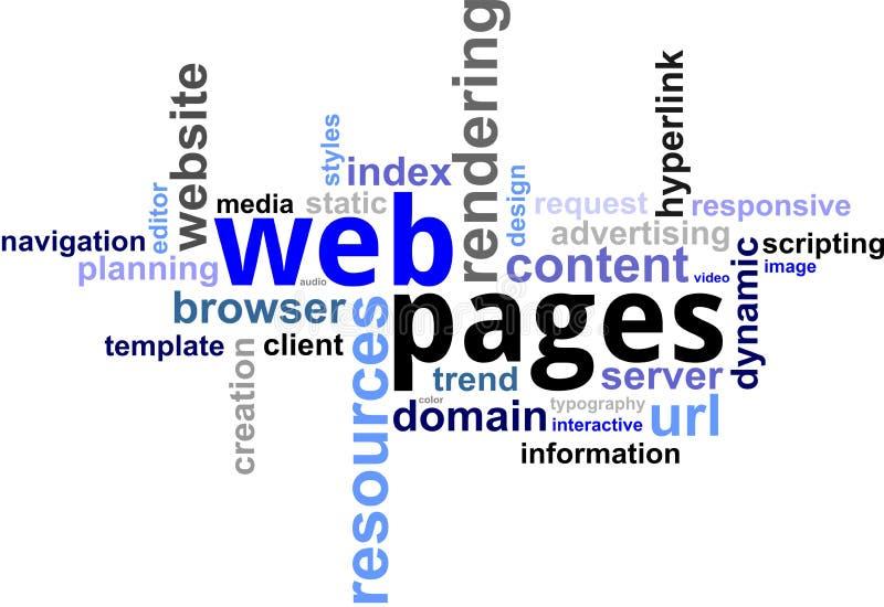 Nuage de mot - pages Web illustration stock